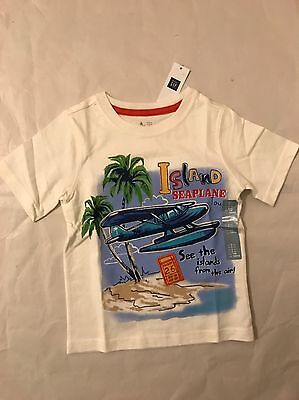 Baby Gap Boy Toddler Short Sleeved T-Shirt White Blue Cotton Size 3T 3 Years NWT