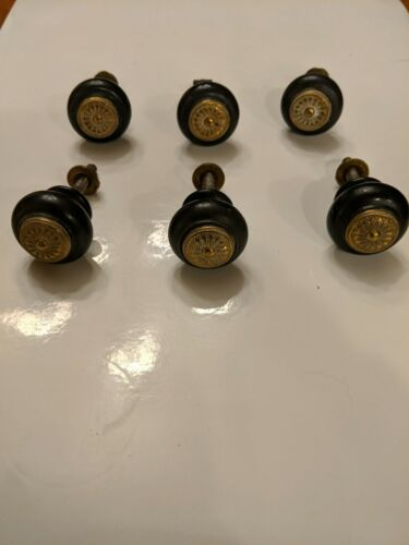 Six Antique Drawer Knobs - Black with Gold Detailing