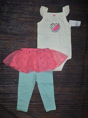 NWT Carters Watermelon Baby Girls Bodysuit Tutu Leggings Outfit Set