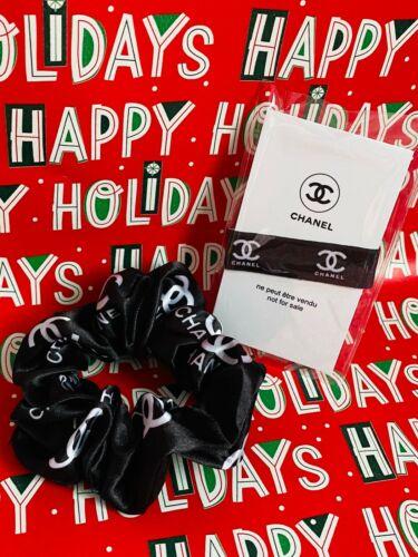 VIP Gift Hair Tie Authentic CHANEL CC LOGO + Hair Scrunchie SET X-Mas Gift !