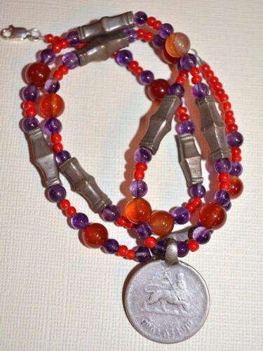 Necklace W/ Antique Haile Selassie Coin Ethiopian Medallion Antique Tuareg Beads