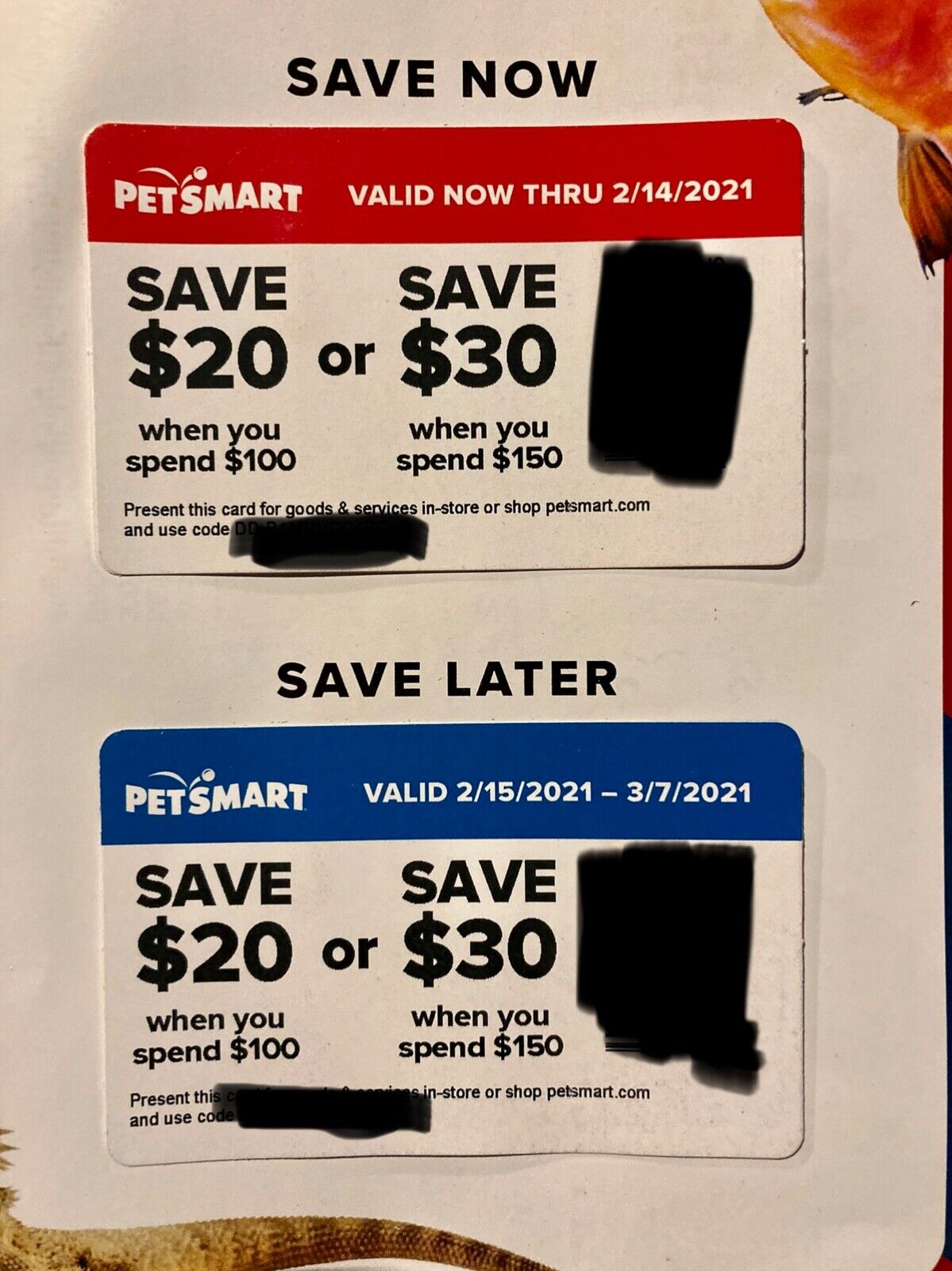 PetSmart Coupons 2 Save 20 When You Spend 100 Save 30 When You Spend 150 - $5.00