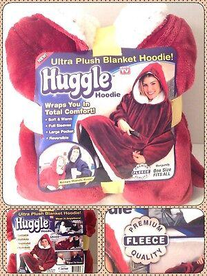 HUGGLE HOODIE Ultra Plush Soft Fleece Blanket AS SEEN ON TV One Size - BURGUNDY (Hoodie Blanket)