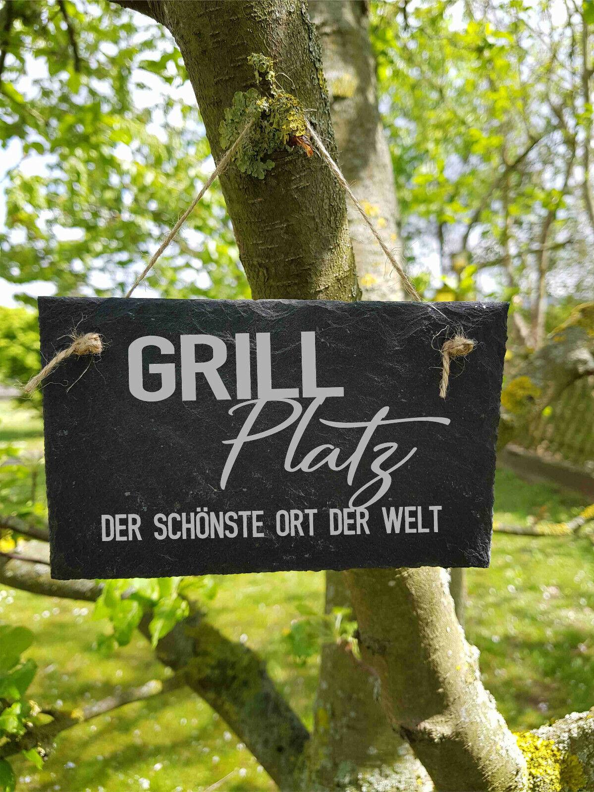 ST 131 - Grill Platz Garten Schild Schieferschild Schiefertafel Lasergravur
