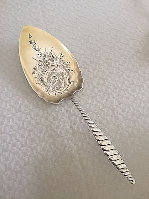 Whiting Oval Twist Sterling Silver Large Pie Knife Server Gold Wash No Mono