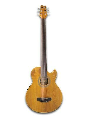 Fretless 6 String Electric Cutaway Acoustic Bass Light-Brown, W/4 Band (4 String Acoustic Bass)