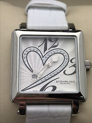 Stuhrling Original Ladies Courtly Watch Crystal Heart White Dial Watch 79532