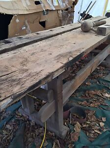 """Antique vintage work bench 9ft X 22"""" with two screw vises Kingston Kingston Area image 4"""