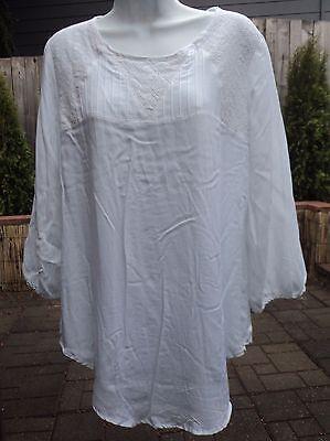- Spense White Misses Pintuck Lace Yoke Rayon Peasant Top Shirt 3/4 Sleeve L NEW