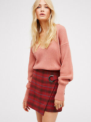 NEW FREE PEOPLE $78 CHERRY COMBO TESSA PLAID MINI SKIRT SZ 2