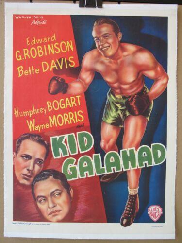 KID GALAHAD (1937) Belgian Re-Release Poster on Linen, Davis, Bogart, Robinson