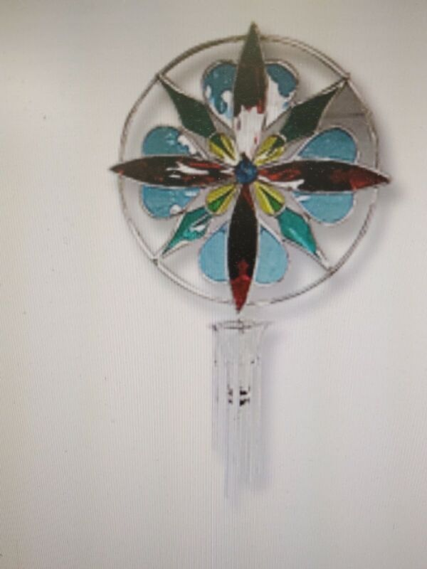 Studio One Stained Glass Kaleidoscope Wind Chime Kit - Blue Heart Pre-cut
