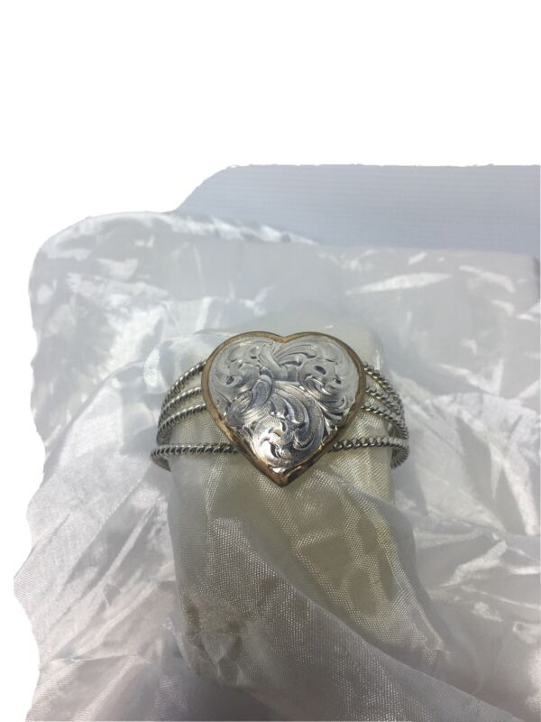 Montana Silversmith Cuff Bracelet Gold Silver Tone Heart With Coiled Details....