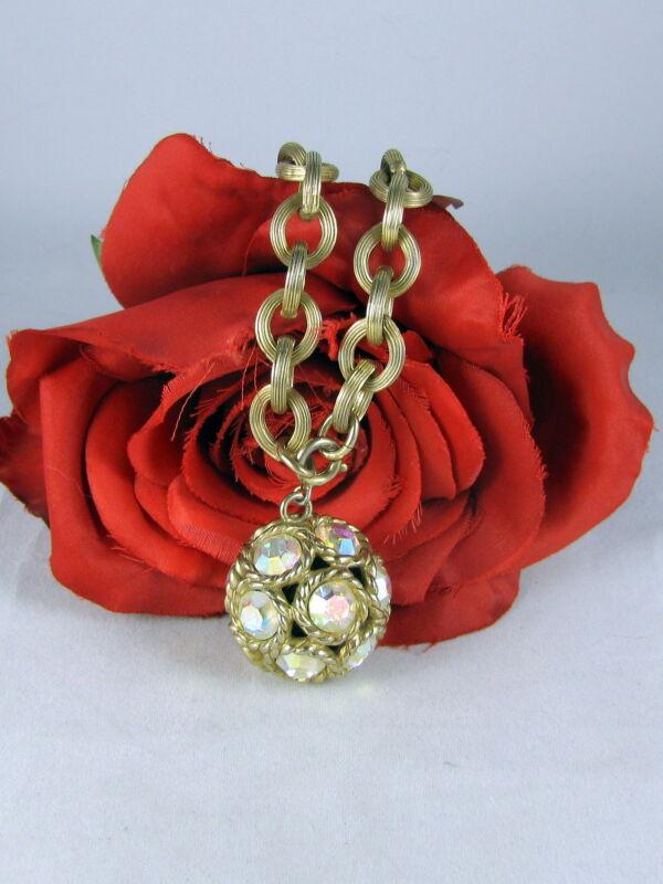 Vintage Gold tone Aroura Borealis Rhinestone Necklace  FERAL CAT RESCUE