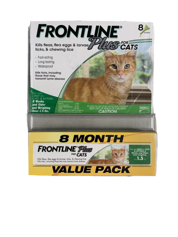 Frontline Plus Flea and Tick Treatment for Cats 6 Doses Brand New