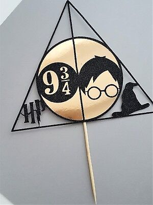 Harry Potter Cake Topper   Black And Gold   Harry Potter Cake Decoration