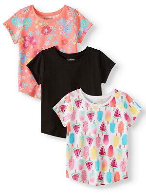 Garanimals Toddler Girls 3 Pack Multi-Pack Solid & Printed T-Shirt Set 3T