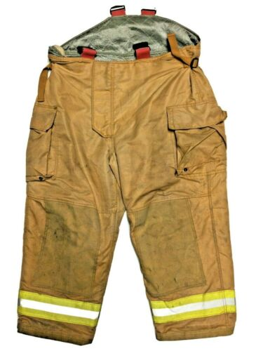 50x28 Securitex Brown Gold Firefighter Turnout Bunker Pants w/ Yellow Tape P1291
