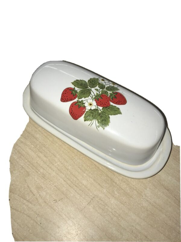 McCoy Strawberry Country Butter Dish with Cover 7013 USA