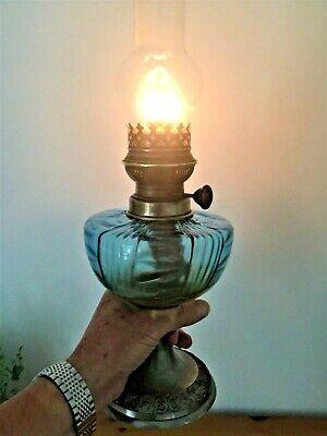 """19th Century Glass Paraffin Oil Lamp """"Bec Victorieux"""" Paris c/w Chimney"""
