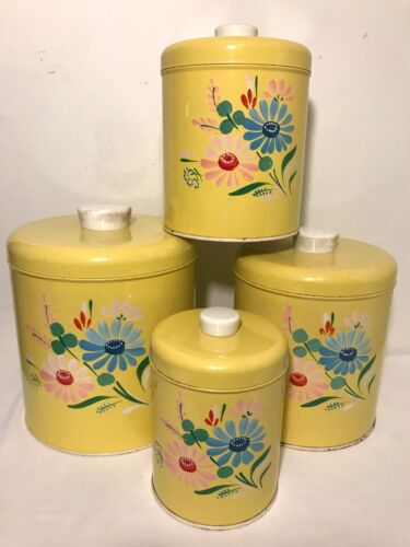 Vintage 4 Metal Canister Set 1950s RANSBURG Yellow Floral Hand-painted w/ Lids