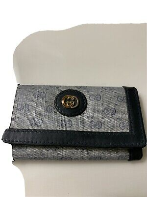 GUCCI Vintage GG Signature Leather 4 Key Holder Wallet Snap Pouch & Box