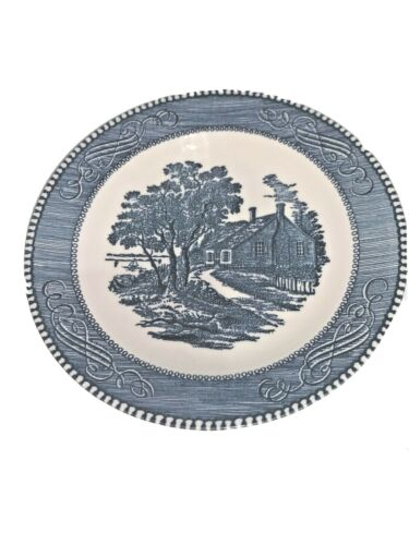 4 CURRIER & IVES Blue By Royal Salad Plate Lake House/Washington