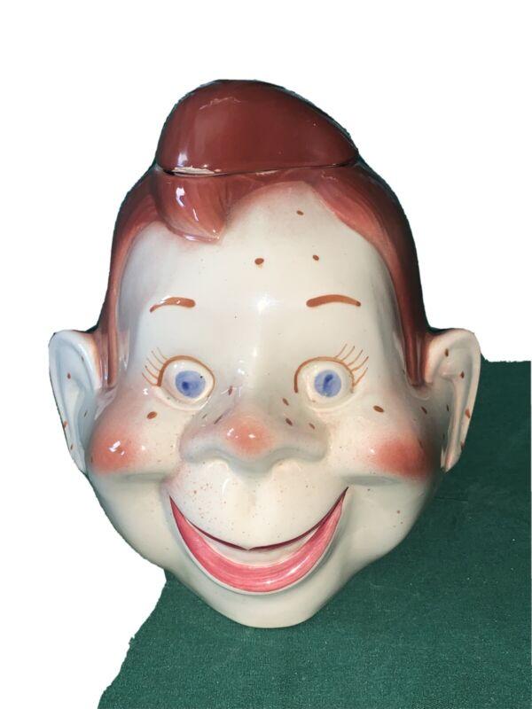 Vintage Howdy Doody Ceramic Cookie Jar Red Hair Freckles Boy Head 1950 w Lid