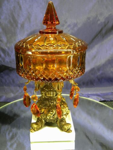 Vintage Amber Glass Compote Candy Dish with Marble Base Amber Prisms