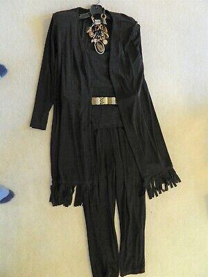 CHICO'S TRAVELERS.BLACK Long Sleeve Fringed Coat,Top,Pants  OUTFIT Sz 3/2 covid 19 (Coat Top Pants coronavirus)
