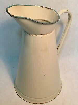 Antique original Vintage large enameled jug pitcher emaillierter krug
