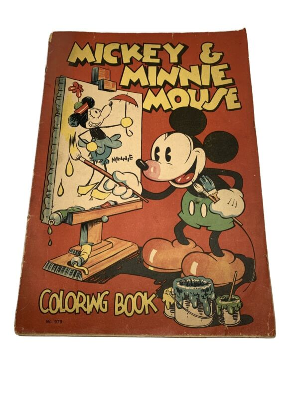 Vintage 1933 Mickey & Minnie Mouse Large Coloring Book Saafield #979