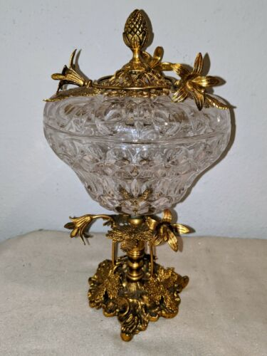 """Victorian Gold gilt & Crystal lidded Candy Dish compote pedestal approx 11""""H VTG"""