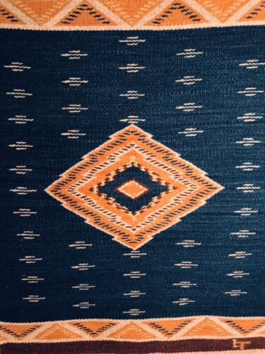 3 - OUTSTANDING VINTAGE NEW MEXICAN/MEXICAN HANDWOVEN WOOL THROW WITH INDIGO