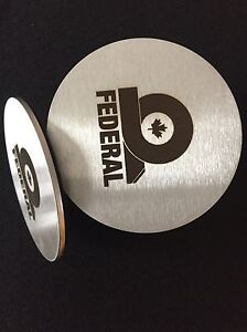 Custom made, solid, stainless steel coasters