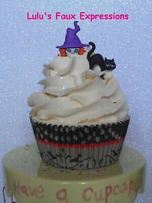 Faux CUPCAKES Fake Food HALLOWEEN  WITCH & CAT buttercream