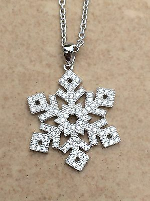 Rhodium Snowflake Pendant - Rhodium Plated Pave Cubic Zirconia CZ Snowflake Winter Pendant Necklace 18 Inch
