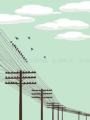 FLYING BIRDS POWER PHONE LINE VECTOR PHOTO ART PRINT POSTER PICTURE BMP325A