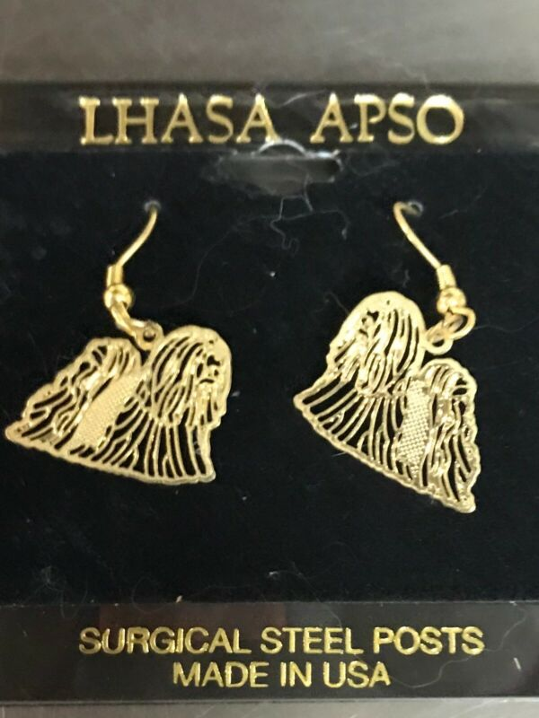 LHASA APSO GOLD EARRINGS MADE WITH SURGICAL STEEL POST IN USA