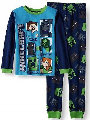 Minecraft Boys Pajamas Size 8 10 100% Cotton Thermal Shirt/Pants Winter M-L NEW ()