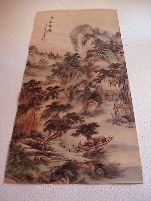 Asiatika altes China Malerei aus Sammlung Gemälde Handbemalt 128x60cm
