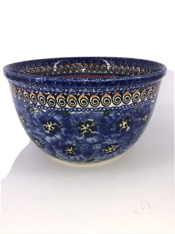 "Boleslawiec Polish Pottery Blue Flowers Art  Serving Mixing Bowl Zaclady 8"" X 5"""