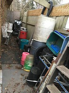 Plastic barrels & containers, pails, garbage cans