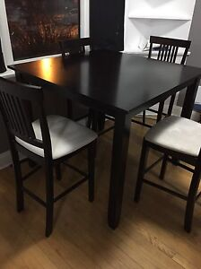 Dark Brown High table set with 4 chairs
