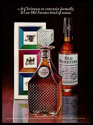1968 Old Forester Kentucky Straight Bourbon Whiskey Christmas Decanter Print Ad
