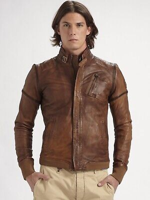 DIESEL Men's Brown Convertible Leather Jacket - Size Small - Original - Rare -