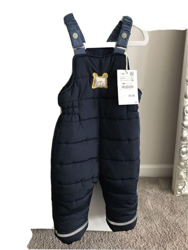 Zara Baby Boy Snow Pants Blue Size 12/18 Months New