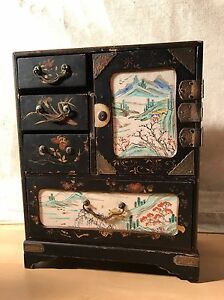 Antique Oriental Chinese Japanese Tansu Hand Painted Lacquered Jewellery Box