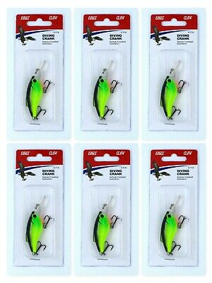 - (6) Eagle Claw Crankbaits Chartreuse Black With Orange Throat ECFCB Brand New