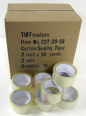 36 Rolls Carton Sealing Clear Packingshippingbox Tape- 2 Mil- 2 X 55 Yards